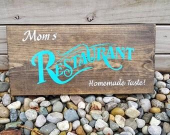 Momu0027s Restaurant Sign, Wooden Kitchen Sign, Kitchen Decor, Moms Restaurant, Kitchen  Signs