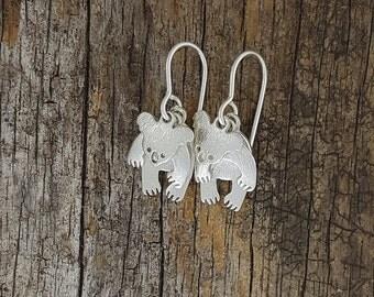 Koala earrings articulated in sterling silver