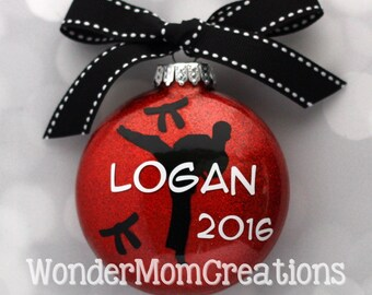 Karate Personalized Ornament; Martial Arts Christmas Ornament; Taekwondo Personalized Ornament; Black Belt Ornament