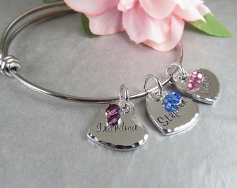 Hand Stamped Personalized Bangle Bracelet - Grandma Personalized Bracelet - Birthstone Jewelry - Hand Stamped Grandma Jewelry Gift