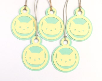 Cat Gift Tags, Set of 5 Tags, Gift Wrapping, Packaging, Tags, Birthday Tags, Cats, Cat Lovers, Pastel Yellow/Green