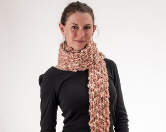 Super Long Knit Scarf, Rust and Cream, Chunky Knit, Wool and Acrylic - 169