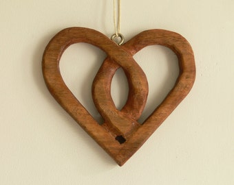 Carved Wooden Heart Door Or Window Hangers - Mahogany- Ideal Gift For Wedding Or Anniversary