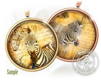 "Zebras vintage images - Digital bottle cap images - 1'' circles, 25mm, 30mm, 1.25"", 1.5"" for Jewelry Making, BUY 2 GET 1 FREE"