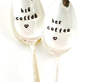 his coffee, her coffee, coffee spoons  anniversary gift, wedding gift, gift for couple, gift for her, for him