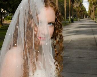 Crystal Bridal Veil, Cut Edge Double Layer Veil, Crystal Wedding Veil, Swarovski Crystal Veil, Glitter Veil, Sparkle Veil- INDIA