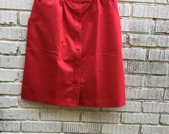 70s Red Skirt. 1970s A Line High Waist Skirt. Medium. Lily's of Beverly Hills