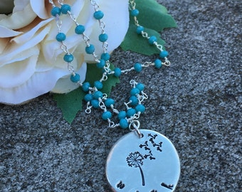 Adorable wish necklace on rosary chain