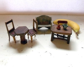 Rustic Dollhouse Furniture, Wood Dollhouse Furniture, Dollhouse Accessories, Dollhouse Sitting Room, Dollhouse Living Room