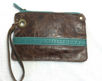 Reclaimed, repurposed, recycled, upcycled brown leather with turquoise detailing zip top wristlet  clutch