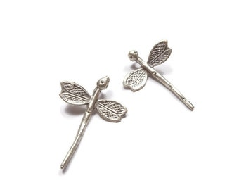 Dragonfly Charm, 2 Pieces Matte Silver Plated Dragonfly Charms - BCS002
