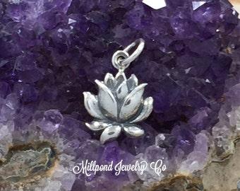 Lotus Blossom Charm, Lotus Flower Charm, Flower Charm, Sterling Silver Charm, Flower Pendant, Small, PS01455