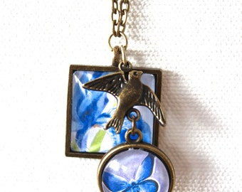 Blue Siberian Iris Flower Floral Necklace Antique Brass Finish Pendant Necklace with Bird Charm and Blue Butterfly Mini Pendant