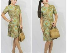 Vintage 50's 60's Aqua Green Paisley Drop Pleated Waist Flour Sack Cotton Summer Dress