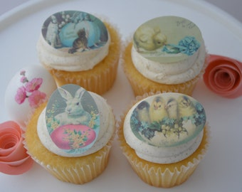 25 easter cucpake topper, cookie topper, cookie wafer paper, edibleimage, easter, bunny, precut & edible