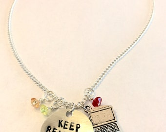 "Steven Universe Ronaldo Inspired Hand-Stamped Necklace - ""Keep Beach City Weird"""