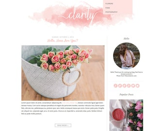 "Premade Blogger Template - Simple and Clean Blog Design - Blogspot Template - Watercolor Blogger Template - ""CLARITY"""
