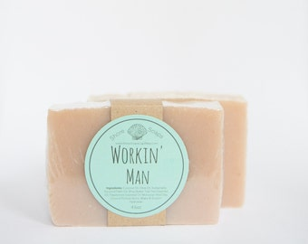 Workin' Man Soap // Tea Tree - Peppermint - Moroccan Red Clay // Vegan Organic Cold Process // Shea // Gifts for Him // Gifts Under 10