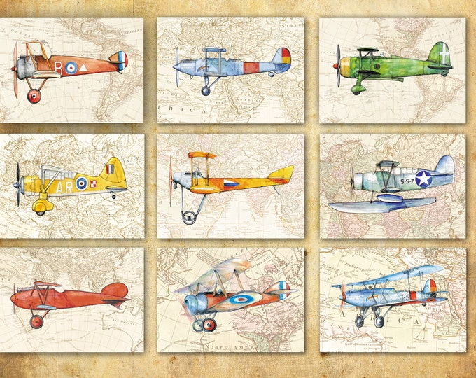 Vintage airplane on map decor Set 9 prints Aircraft painting Boys art Aviation art Retro avia Baby boy nursery wall art