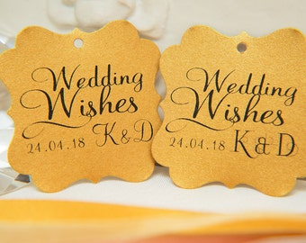 Custom Wishing Tree Tags. Wedding Wishes with Initials and date. Old Gold Wedding cards. Square printed favour tag. Wedding Guestbook