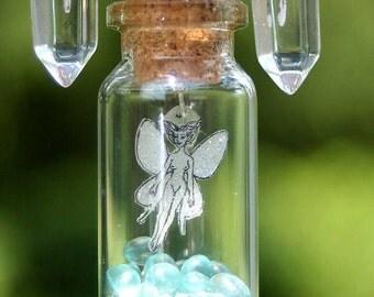 fairy bottle pendant, glow in the dark fairy necklace, captured fairy pendant,glass potion bottle,terrarium fairy,miniature fairy