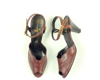 1970's NOS Brown Faux-leather Scalloped Open-toed Sling-back Sandal Pumps - Sz 7AA