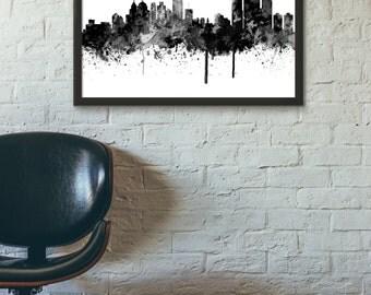 Detroit City Skyline , Black and White,Digital Watercolor art print. Modern Home Decor,No 643