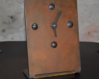 Industrial Desk or Mantle Clock Copper Patina