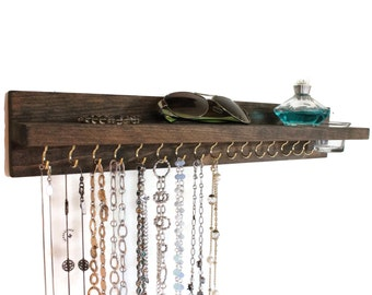 Jewelry Rack and Shelf with Glass Jar