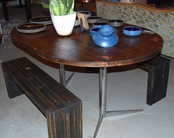 Oval Pieced Top Dining Table on Vintage Metal Base