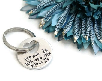 Home Is Where My Mom Is Keychain | Mother's Day Gift | Gift For Mom | Mom Gifts From Daughter | Mom Gifts From Son | Mom Keychain