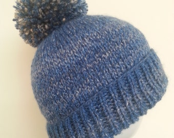 APOLLO - Roll-Brimmed Bobble Hat in Shades of Blue