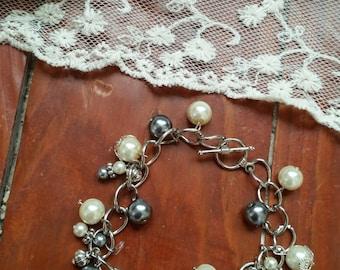 "Victorian Steel Antique Skeleton Key Charm Bracelet, 7"" Long"