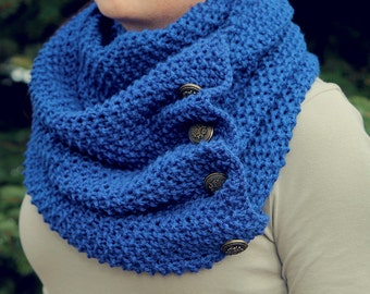 Royal Blue Knitted Scarf with Buttons, Knit, Crochet, Scarves, Accessories, Spring, Clothing, Infinity Scarf