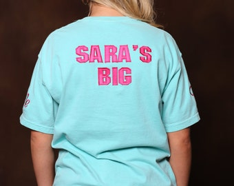 greek stitched letter comfort color shirt with biglittle back wording sorority stitched letter shirt comfort color letter shirt
