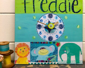 Personalised jungle animals clock