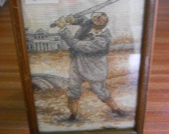 Old Tom Morris Cross Stitch in Hand Made Wooden Frame
