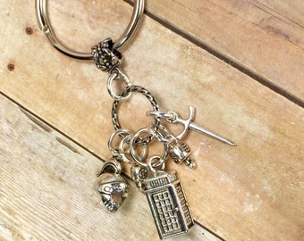 Dr Who Rory the Roman keychain , Dr Who Tardis, Rory Roman helmet and sword charms