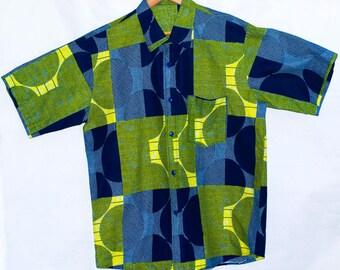 Handmade Men's African Print Shirt/ Half Sleeves/ Button Up Cotton/ Ankara Shirt. M/L