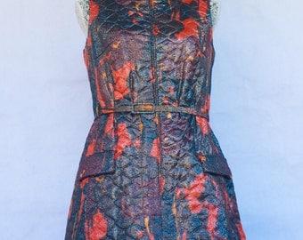 Vintage 60s FRANK USHER Quilted Metallic Mad Men Pin Evening Dress British Designer Bombshell. Size S/M