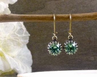 Green erinite crystal earrings, Erinite green Swarovski earrings, Tiny dangle earrings, Green rhinestone jewelry, Antique brass earrings