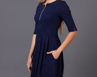 3/4 Sleeve Fit and flare navy mini dress with pockets, Fitted bodice sleeved mini dress with pockets
