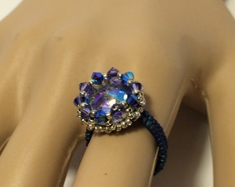 Swarovski Purple Ring  ~ Swarovski Beaded Ring ~ Swarovski Ring ~ Beaded Purple Ring ~ Swarovski Rivoli Ring ~