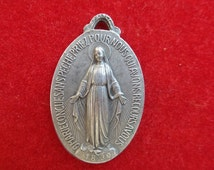 Antique French Virgin Mary Medal. Religious pendant. Antique First Communion medal.