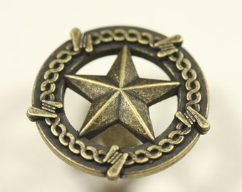 Star With Barbed Wire Knob - Antique Brass
