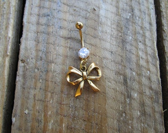 Bow Belly Button Jewelry, Gold Bow Belly Ring, Curved Barbell, Navel Piercing, Belly Button Jewelry, Prong Belly Ring.
