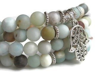 108 Mala bracelet, Amazonite bracelet wrist mala, amazonite jewellery, buddhist jewellery, meditation bracelet necklace