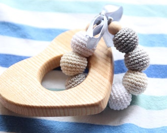 Baby wooden teether with crochet beads / Stylish and Natural / Wooden teething toy