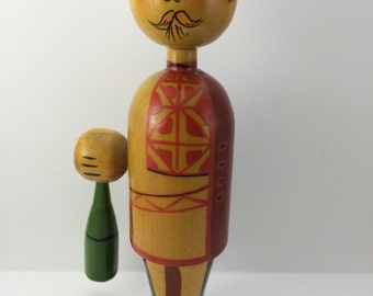 Vintage Wooden Drinking Man with Bottle Aristocrat Gentelmen ?Germany