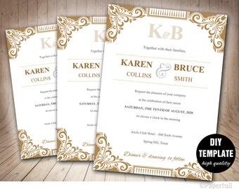 Gold Wedding Invitation Template,Instant Download DIY Wedding Invitation,Gold Wedding Invite, Gold Wedding Printable